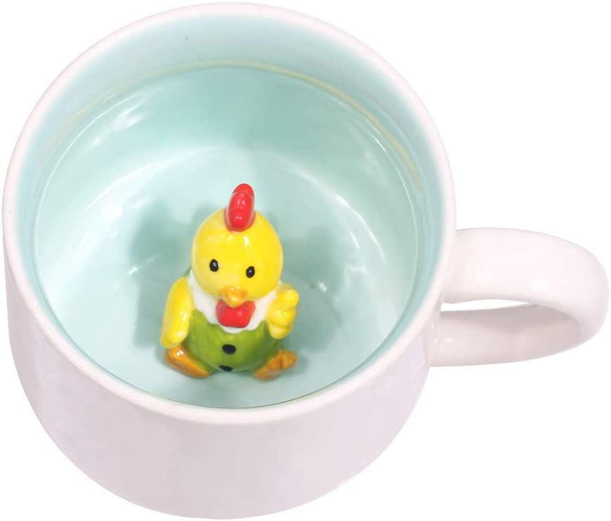 3D Coffee Mug Animal Inside 12 oz with Chicken, Cute Cartoon Handmade Figurine Home Ceramics Cups Morning Mugs