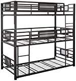 Coaster Rogen Collection 460394T Twin Size Triple Bunk Bed with Built-In Ladder Slat