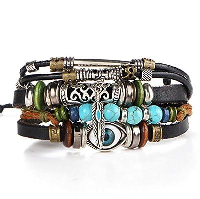 Susenstone Multilayer Leather Bracelet , Handmade Beaded Bracelet ,Blue Eye Bracelet Vintage Hollow Carved Bracelet
