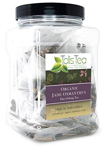 Tolis Tea Organic Jade Osmanthus Oolong Tea, Fine Oolong Tea, - Premium whole leaf pyramid tea sachet bags - High In Antioxidants, All natural Ingredients, 25 Silk Sachets - Osmanthus Oolong Tea