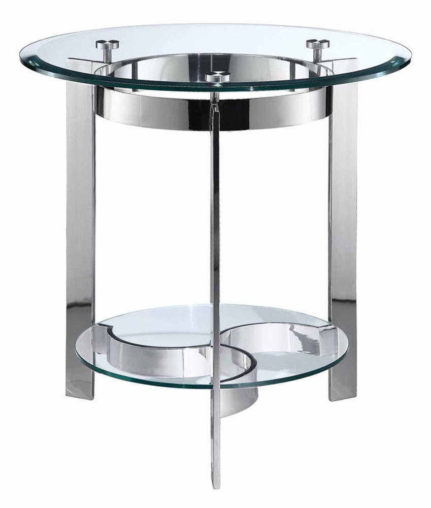 Stein World Furniture Mercury Round End Table, Silver Finish/Glass