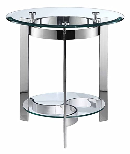Stein World Furniture Mercury Round End Table, Silver Finish/Glass