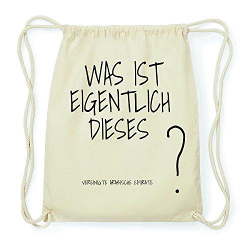 JOllify VEREINIGTE ARABISCHE EMIRATE Hipster Turnbeutel Tasche Rucksack aus Baumwolle - Farbe: natur Design: Was ist eigentlich