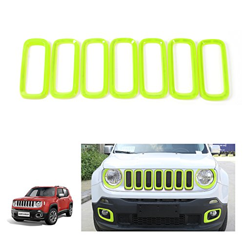 RT-TCZ Green ABS Front Grill Grille Inserts for 2015-2017 Jeep Renegade Unlimited (Pack of 7)