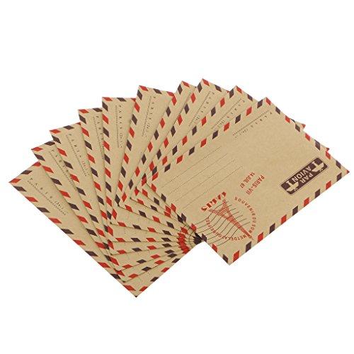 goldblue Pack of 40 Random Vintage Airmail Aeroplane Kraft Card letter Envelopes Travel Gift