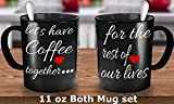 """Engagement coffee mugs set """"Let's have Coffee Together for the rest of our lives"""" engagement gift for best friend, gift for couple, wedding gift. (11 oz Both)"""
