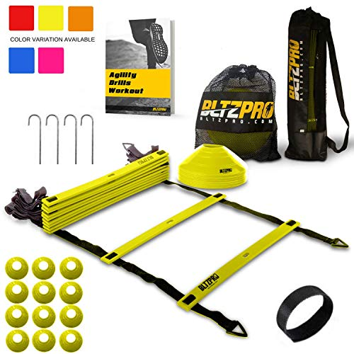Bltzpro Agility Ladder with Soccer Cones- A Speed Training Equipment for Football and Team Sports Skills Practice. Ideal for Coaching and Conditioning Includes 2 Bags/4 stakes/24 Agility Drills eBook (Drills Team Practice)