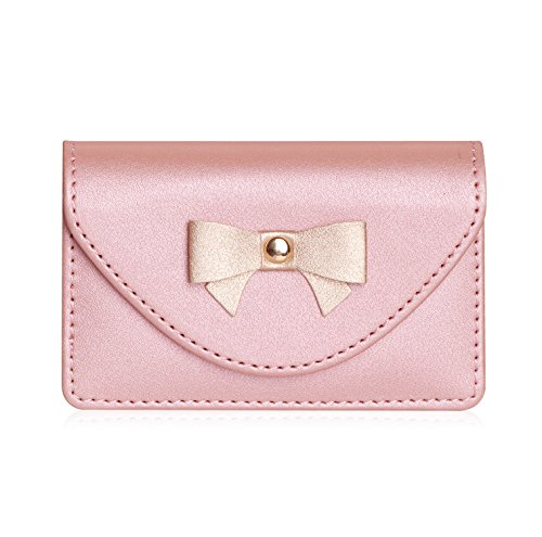 FYY Handmade Premium Leather Business Name Card Case Universal Card Holder with Magnetic Closure (Hold 30 pics of Cards) Rose Gold