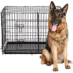"48"" 2 Doors Pet Folding Suitcase Dog w/Divider Cat Crate Cage Kennel w/Tray"