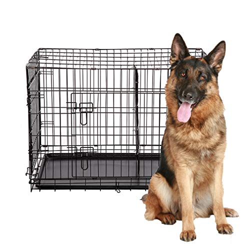 48' 2 Doors Pet Folding Suitcase Dog w/Divider Cat Crate Cage Kennel w/Tray