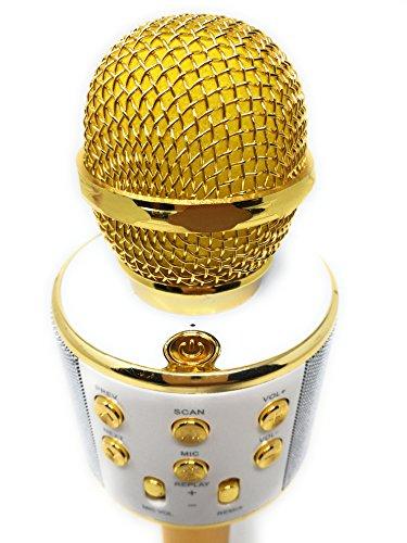 DLH MOBILE Portable Wireless Karaoke Microphone,Handheld Cellphone Karaoke Player Built-in Bluetooth HIFI Speaker, Selfie 3-in-1 Rechargeable Li-battery Karaoke KTV MIC Machine Gold (WS858) by DLH MOBILE (Image #3)