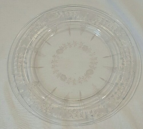 "Vintage Floral Etched clear glass salad plate. 8"" diameter"