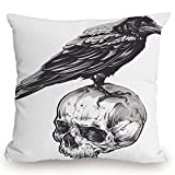 Throw Pillow Cushion Cover,Scary,Scary Movies Theme Crow Bird Sitting on a Human Old Skull Sketchy Image Decorative,Charcoal Grey White,Decorative Square Accent Pillow Case