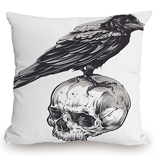 Throw Pillow Cushion Cover,Scary,Scary Movies Theme Crow Bird Sitting on a Human Old Skull Sketchy Image Decorative,Charcoal Grey White,Decorative Square Accent Pillow Case by KissCase
