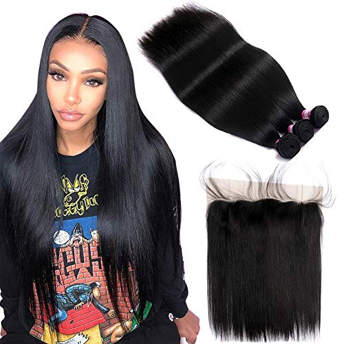 FQ Peruvian Straight Hair 3 Bundles with Frontal Closure(20 22 24+18 frontal) 10A Unprocessed Straight Human Hair Bundles with Frontal 13x4 Ear To Ear Straight Bundles with Frontal Closure Baby Hair