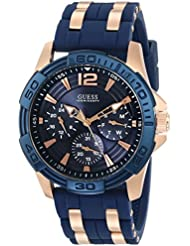 GUESS Mens Stainless Steel Casual Silicone Watch, Color: Gold-Tone/Navy Blue (Model: U0366G4)