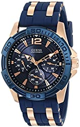 GUESS Men's U0366G4 Sporty Rose Gold-Tone Stainless Steel Watch with Multi-function Dial and Blue Strap Buckle