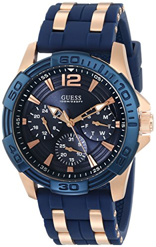 GUESS Men's U0366G4 Sporty Rose Gold-Tone Stainless Steel Watch with Multi-function Dial and Blue Strap (Gold Tone Blue Dial)