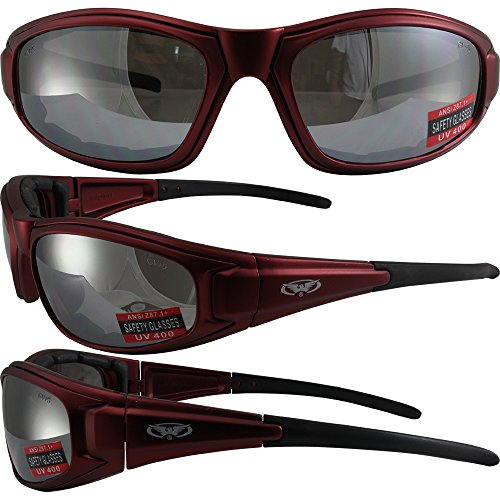 Global Vision Zilla Plus Padded Motorcycle Safety Sunglasses Matte Red Frame Flash Mirror Lens ANSI Z87.1