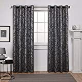 Exclusive Home Curtains Watford Woven Blackout Grommet Top Panel Pair, Black Pearl, Silver