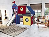 JACKPOT! Castle Low Loft Bed with Slide Red
