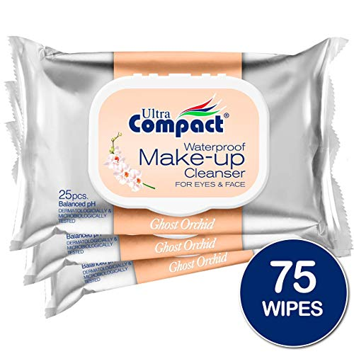 (Ultra Compact Makeup Remover Wipes - No Harsh Chemicals Eye Makeup Remover - Dermatologically & Microbiologically Tested Face Wipes - Ghost Orchid Or Fragrance Makeup Wipes - 3 Packs of 25 Wipes)