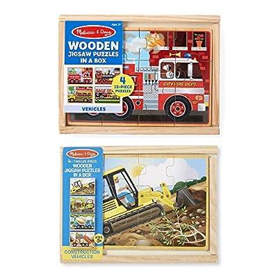 Melissa & Doug Vehicle and Construction Puzzles in a Box Bundle: Melissa & Doug: Toys & Games
