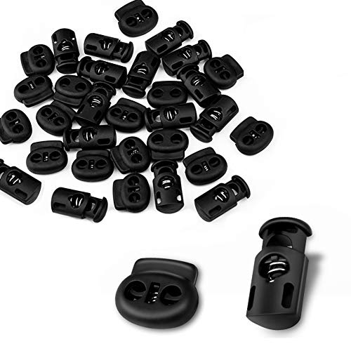 CousDUoBe 30 Pcs Plastic Cord Locks End Spring Stopper,Suit for Drawstrings, Bags, Shoelaces, Clothing, More (15 Double-Hole, 15 Single-Hole, Black)
