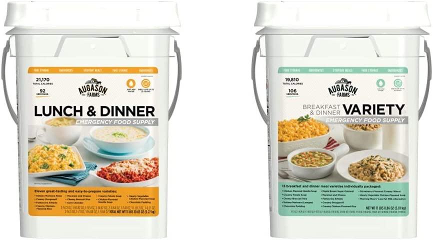 Augason Farms Lunch and Dinner Variety Pail Emergency Food Supply 4-Gallon Pail & Farms Breakfast and Dinner Variety Pail Emergency Food Supply Everyday Meals 4 Gallon Pail
