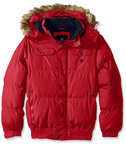 U.S. Polo Assn. Men's Short Snorkel Jacket With Polar Fleece Lining, Chili Pepper, L by U.S. Polo Assn.