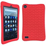 Kimorikisei Silicone Protective Case for Fire HD 7 Tablet-2017, Non-slip, Shockproof, Light Weight, Easy Installation, Kids Friendly for All-New Amazon Fire HD 7, Red