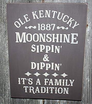 MarthaFox Rustic Olde Kentucky Moonshine Wood Sign
