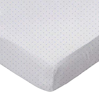 product image for SheetWorld Fitted Basket Sheet - Blue Pindot Jersey Knit - Made In USA