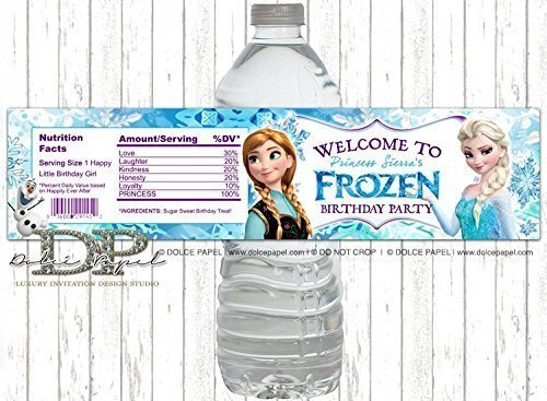 (10 Frozen Birthday Party Elsa Anna Olaf Snowflake Water Bottle Labels -)
