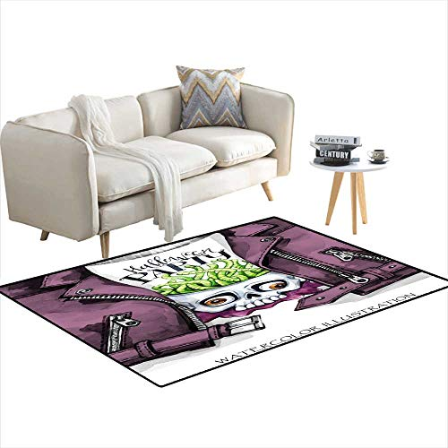 Extra Large Area Rug Watercolor Fun Illustration Halloween carHanpainteleather Jacket wi Print Skull wi Brains of Worms Rock Style Girl R 3'x13' -