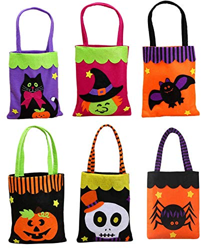SENTUREE 6 Pack Trick or Treat Bags, Halloween Favors Bags, Non-woven and Reusable Candy Bucket with 6 Different Prints