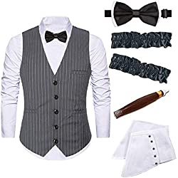 Mens 1920s Accessories Gangster Stripe Vest Set - Gangster Spats,Armbands,Pre Tied Bow Tie,Toy Fake Cigar,Grey,M1