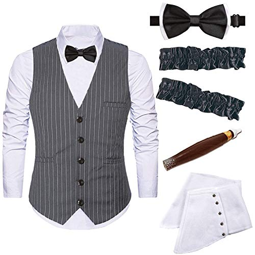 Mens 1920s Accessories Gangster Stripe Vest Set - Gangster Spats,Armbands,Pre Tied Bow Tie,Toy Fake Cigar,Grey,L1
