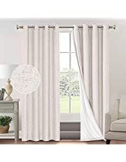 Primitive Textured Linen 100% Blackout Curtains for Bedroom/Living Room Energy Saving Window Treatment Curtain Drapes, Burlap Fabric with White Thermal Insulated Liner