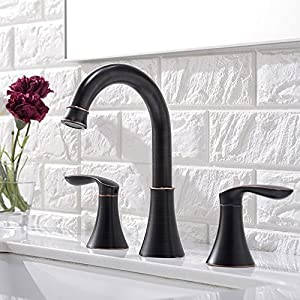 Friho Lead-Free Commercial Two Handle Three-Hole Oil Rubbed Bronze Bathroom Vanity Sink Faucets Bathroom Faucet