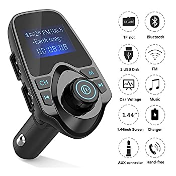 Agptek Fm Transmitter,wireless In-car Bluetooth Radio Adapter Car Kit With 1.44 Inch Display & Dual Usb Car Charger 1
