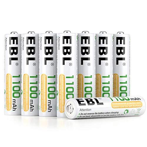EBL Lot de 8 piles rechargeables Ni-MH Idéal pour les équipements électriques de la maison Livrées avec un boîtier de rangement AAA 8 Baterías