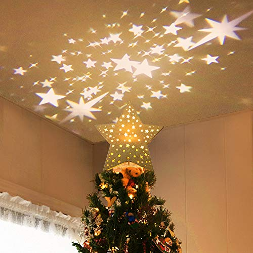 Angela&Alex Christmas Tree Topper, Hollow Star Tree Topper Lighted with Rotating Star LED Projector 12 in Tree Topper for Indoor Outdoor Christmas Tree Decorations(Golden) (Christmas Alex)