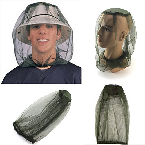 OWIKAR Anti-mosquito Head Net Horse Fly Control Mesh Mask Face Neck Protection For Outdoor Sports Jungle Adventure Field Work Climbing - Olive green (Dr Gold Ear Therapy)