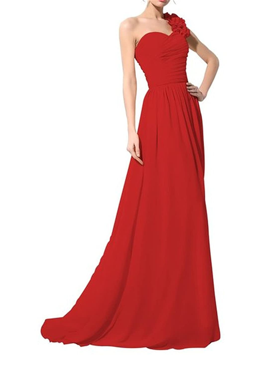 YingLuo Appliques Beaded One-Shoulder Gowns Chiffon Long Evening Dress