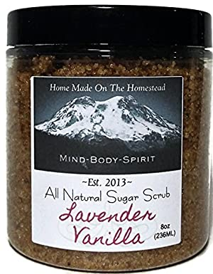 Sugar Body Exfoliating Scrub With Vanilla Essence - Perfect 8oz Scrub To Energize & Revitalize Your Skin - Packed With Vitamins & Fatty Acids From The vitamin E Oils - Contains Lavender Essential Oil!