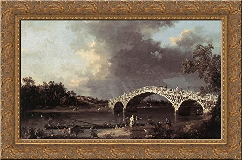 - Old Walton Bridge over the Thames 24x18 Gold Ornate Wood Framed Canvas Art by Canaletto