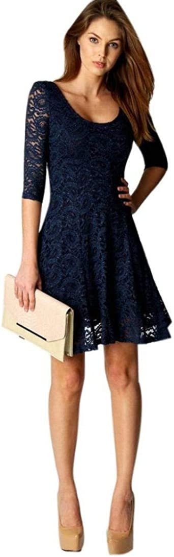Sukienka moda damska koronka na imprezę krÓtki wieczÓr rękawy mini moda markowa sukienka balowa 3/4 rękawy okrągły dekolt vintage elegancka linia A swing, sukienka wieczorowa sukienka koktaj