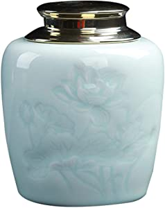 Exquisite Oriental Ceramic Food Storage Jar Canister Food Canisters,Loose Tea Tin/Tea Storage/Tea Caddy/Tea Canister/Coffee Canister/Coffee Jar/Spice Nuts Snacks Storage 23.67oz/700ml (Skyblue)