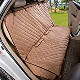 VIEWPETS Bench Car Seat Cover Protector - Waterproof, Heavy-duty Nonslip Pet Car Seat Cover Dogs Universal Size Fits Cars, Trucks & SUVs(TAN)